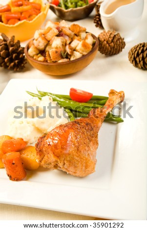 Turkey leg on square plate with vegetables