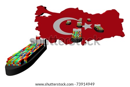 Turkey map flag with container ships illustration