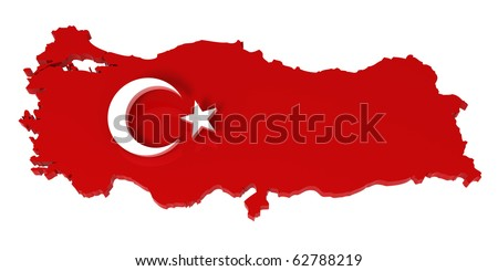 Turkey, map with flag, with clipping path. 3d illustration, isolated in white