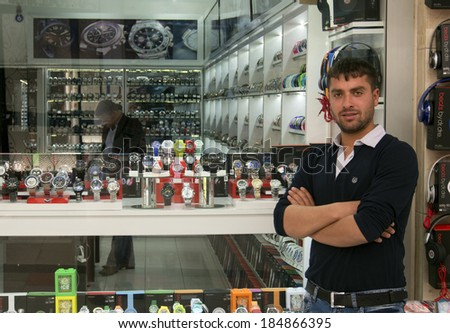 TURKEY, MARMARIS - April 26, 2013: Seller of watches shop