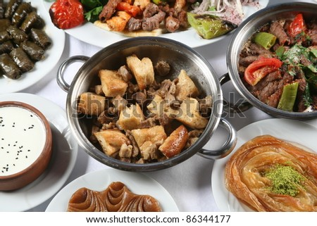 Turkey meat dishes made ??from an image of the traditions of - stock photo