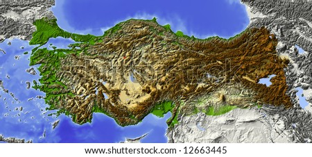 Turkey. Shaded relief map, with major urban areas. Surrounding territory greyed out. Colored according to elevation. Includes clip path for the state area.