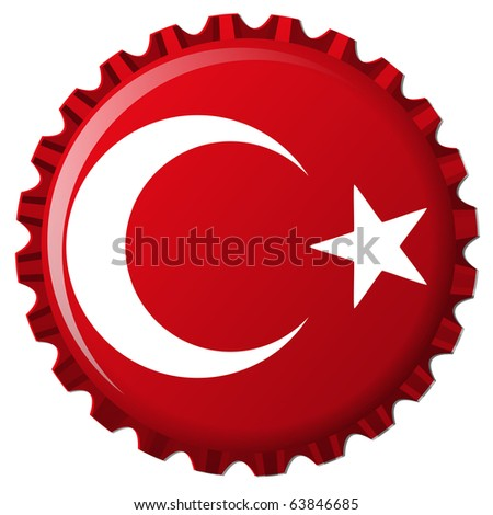 turkey stylized flag on bottle cap, abstract art illustration; for vector format please visit my gallery