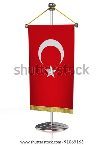 Turkey table flag isolated on white