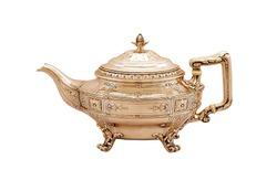 Turkey teapot on white background, antique teapot, golden teapot, metal kettle