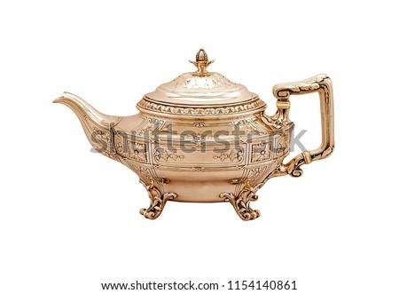 Turkey teapot on white background, antique teapot, golden teapot, metal kettle - Shutterstock ID 1154140861