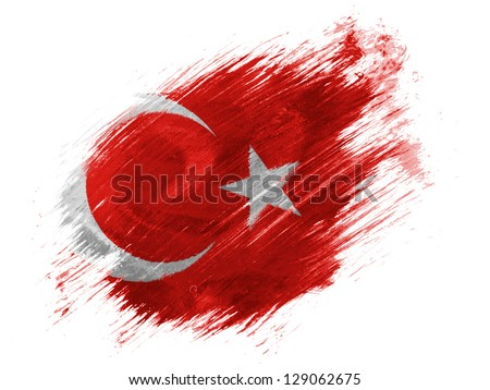 Turkey. Turkish flag  painted with brush on white background