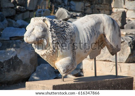 Turkey, west coast, Didyma, a sacred site of the ancient world. Its Temple of Apollo ,oracle,attracted crowds of pilgrims. Marble stone lion statue. 2016-01-15