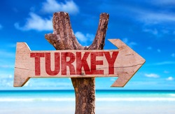 Turkey wooden sign with beach background