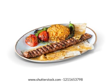 Turkish Adana Kebab, White Background, with clipping path included (TR: Adana Kebap ) Stok fotoğraf ©