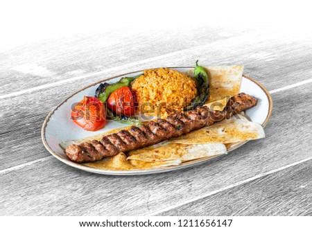 Turkish Adana Kebab, White Wood Background, with clipping path included (TR: Adana Kebap ) Stok fotoğraf ©