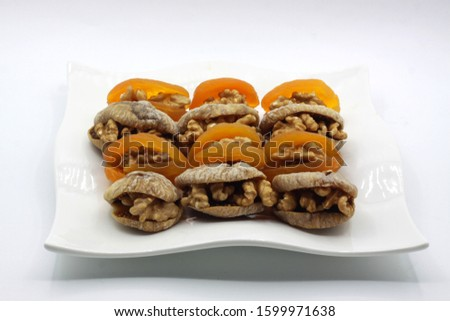 Turkish apricots, dried apricots with walnuts and dried figs