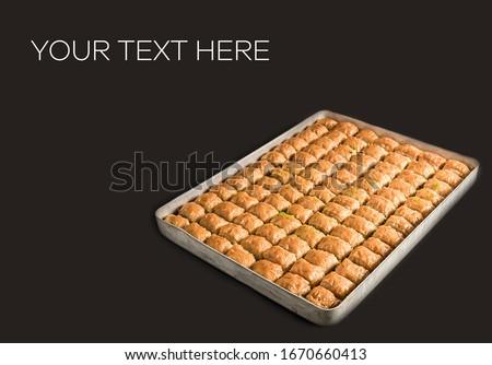 Turkish baklava with baklava, pistachio and walnut Stok fotoğraf ©
