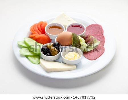 Turkish breakfast on isolated backgound
