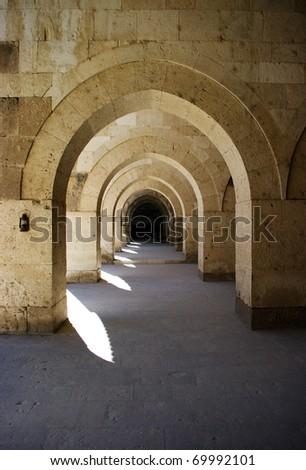 Turkish caravansary cloisters in Anatolia - stock photo