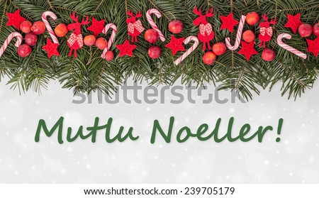 Free Turkish Christmas card with Pine green, candy Canes, apples ...