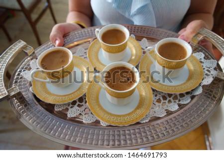 turkish coffee service. victim(sacrifice) and Ramadan feast visit. visit to neighbor, hospitality #1464691793