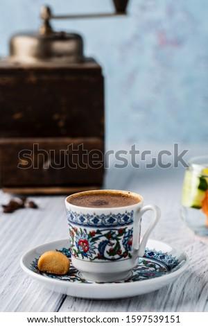 Turkish coffee türk kahvesi lezzetli sunumu Stok fotoğraf ©