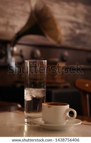 turkish Coffee water  and gramofon  Stock fotó ©