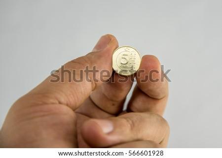 Turkish Coin in hand