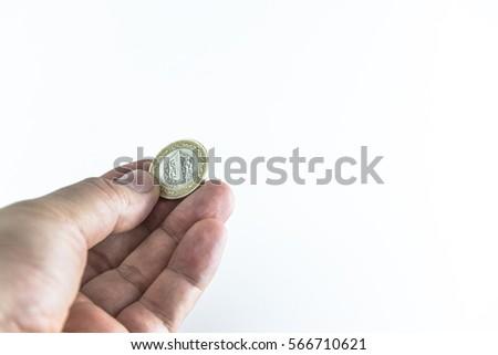 Turkish Coins in hand