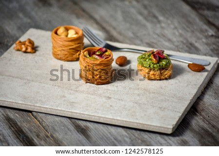 Turkish deligh set. Assorted traditional turkish delight on light background