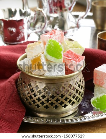 Turkish delight dessert  (rahat lokum) different colors