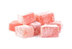 Turkish delight isolated on white.