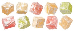 Turkish Delight isolated on white background with clipping path