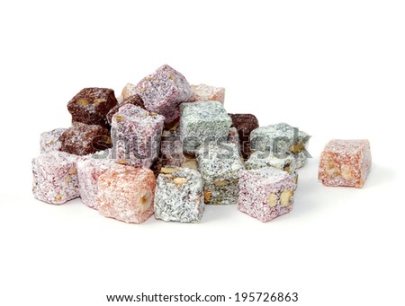 Turkish delight over white background, isolated over white