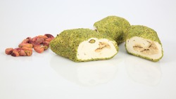 Turkish delight pistachio, covered with crushed pistachios (on the side pistachio )