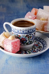 Turkish delight with a cup of Turkish coffee