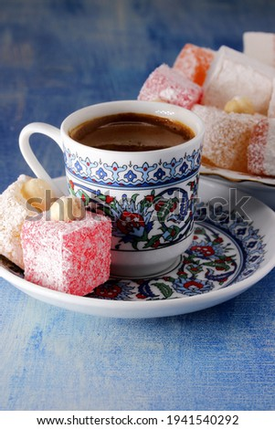 Turkish delight with a cup of Turkish coffee  Stock photo ©