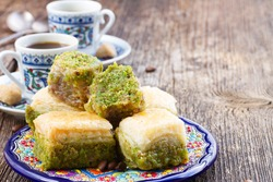 turkish delights - baklava traditional sweets with turkish coffee