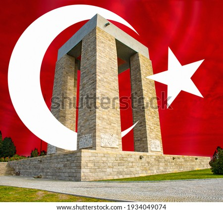 Turkish flag and Çanakkale Monument design. Çanakkale Martyrs Monument against the Dardanelles Strait. It is a commemoration of the service of the Turkish soldiers who participated in the war.