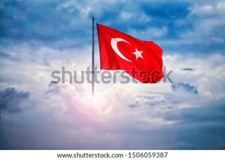 Turkish flag - dramatics lights sky