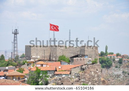 Turkish flag flying over Ankara