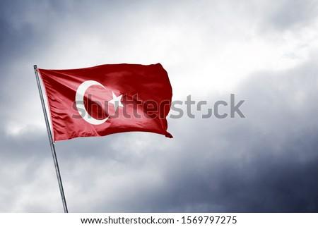 Turkish flag grey sky. translation: Türk bayrağı gri gökyüzü Stok fotoğraf ©