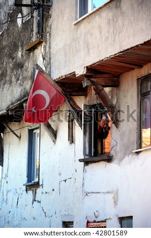 Turkish flag in front of a house