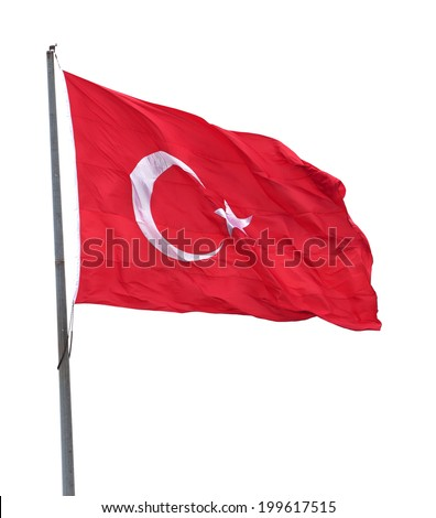 Turkish flag on flagpole waving in wind. Isolated on white background. #199617515