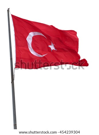 Turkish flag on flagpole waving in wind. Isolated on white background. #454239304