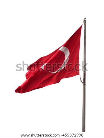 Turkish flag on flagpole waving in windy day. Isolated on white background. #455372998