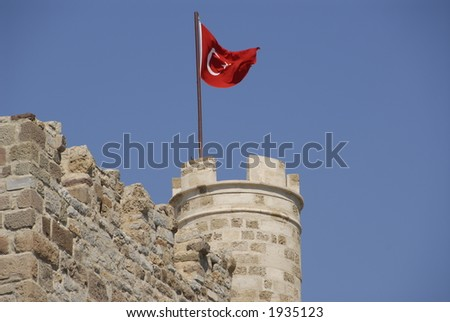 Turkish Flag on Medieval Castle