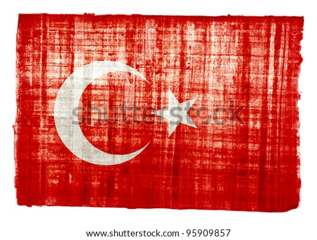 Turkish flag on original papyrus background
