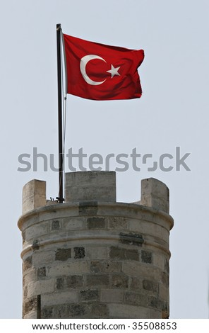Turkish flag on top of Bodrum castle