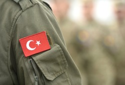 Turkish flag on Turkey army uniform. Turkey troops. Turkish soldier