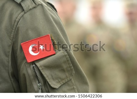 Turkish flag on Turkey army uniform. Turkey troops. Turkish soldier