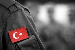 Turkish flag on Turkey army uniform. Turkey troops. Turkish soldiers