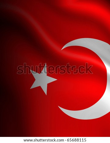 Turkish flag waving in the wind with some folds