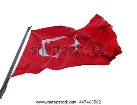 Turkish flag waving in wind. Isolated on white background. #447463582